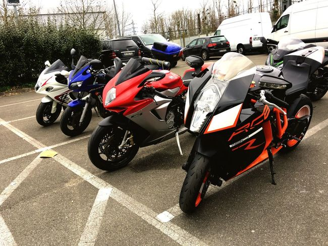 """""""Motorcycles"""" Mode Of Transport Land Vehicle Transportation Outdoors Sports Race Day Competition No People Motorsport Motorcycle Racing Wheel Exhaust Motorcycles Motorcycle Suzuki Stationary Colors Transportation Ktm Mv Agusta MV Agusta F3 Yamaha Yamaha Fazer"""