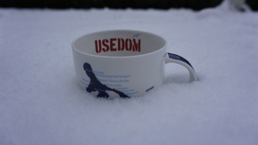 Eiskaffee auf Usedom/ Icecoffee on Usedom Dream Of Summer Icecoffee Snow Text Snow White Color Winter Communication Text Snow White Color Winter Communication No People Close-up High Angle View Cup Capital Letter Snowcapped Mountain