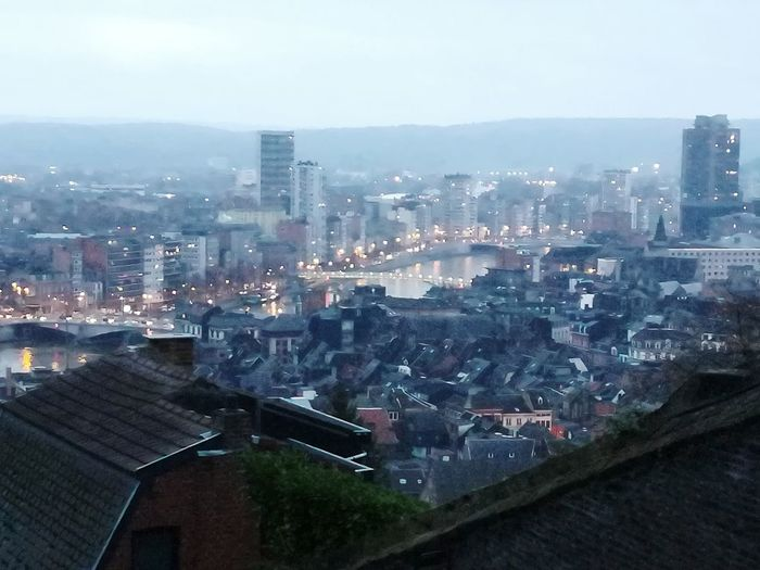 Beautiful city of Liège. Huawei P8 Lite Bueren Montagne De Bueren Urban Skyline Setting Sun Sun Goes Down Urban City Skyscraper Cityscape Downtown District High Angle View Architecture Outdoors No People Sky City Life
