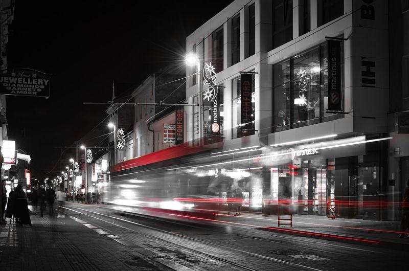 Blurred motion of illuminated city at night