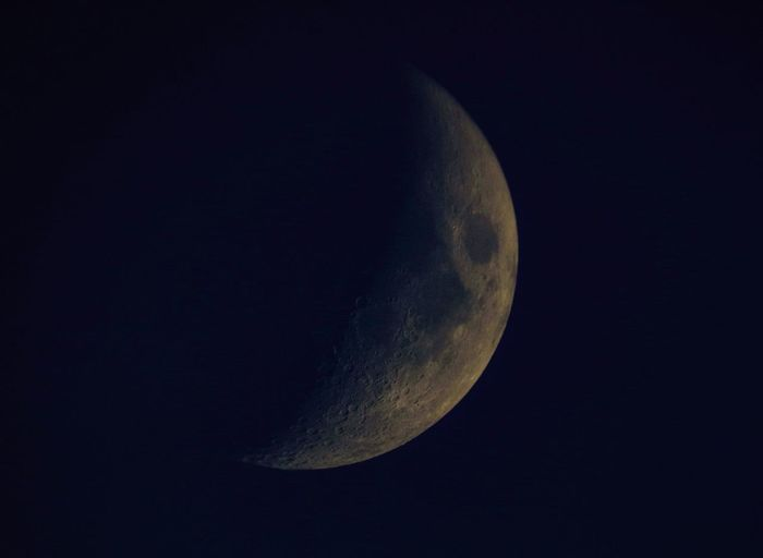 Partial moon taken through a telescope Astronomy Astrophotography Beauty In Nature Celestron Clear Sky Close-up Moon Moon Surface Night No People Sky Space Telescope Telescope View