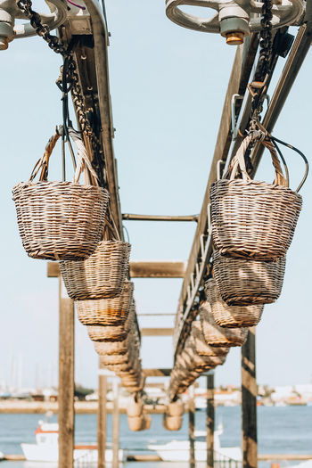 Low angle view of baskets against sky