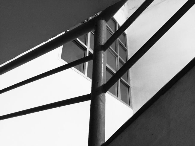 Railing and windows Railing And Windows White And Black EyeEm Selects Built Structure Architecture Low Angle View No People Building Exterior Day Window