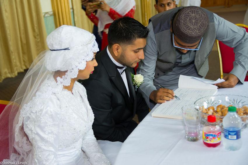 Preparation  Wedding Love Bride Wedding Celebration Husband Religion Muslimwedding Caribbean Trinidad And Tobago Beautiful Place Of Worship Sitting Life Events Happiness Bridegroom Couple Wedding Ceremony