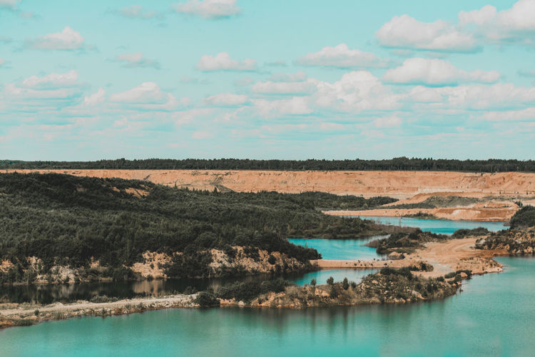 Sky Water Tranquil Scene Beauty In Nature Tranquility Scenics - Nature Cloud - Sky Nature Environment Landscape No People Lake Day Non-urban Scene Waterfront Land Outdoors Idyllic Turquoise Colored