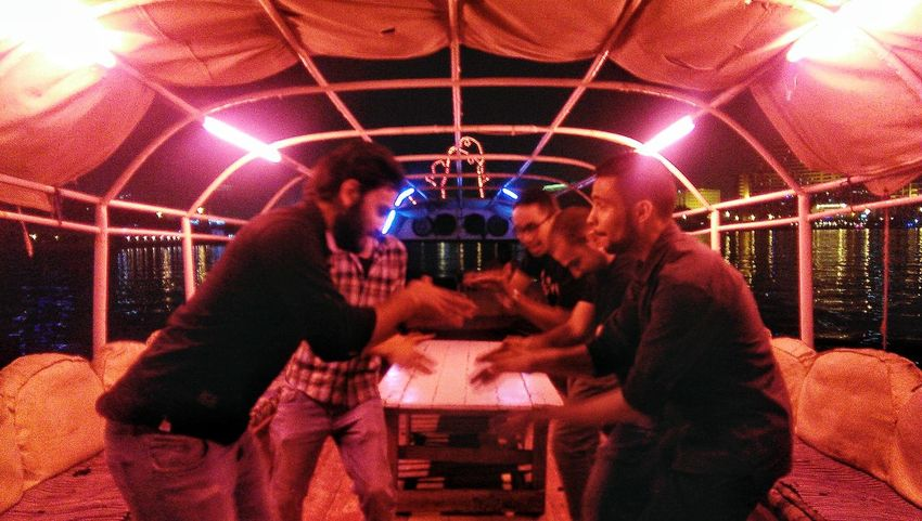 "THESE Are My Friends Me and my friends dancing ""Dabke"" on a boat over the river Nile, Cairo Cairo Egypt Friends ❤ Happy"