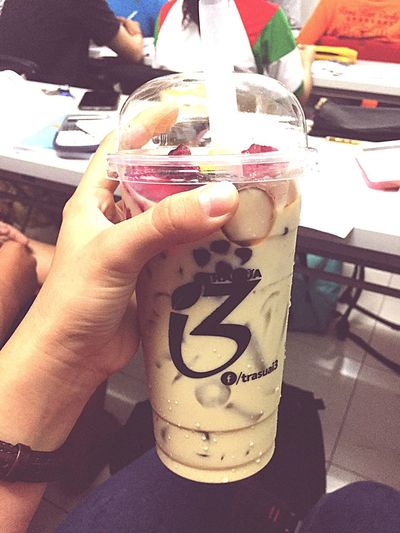 Milktea from my bf 💋 Frommyboyfriend Milktea Human Hand Human Body Part Hand Body Part Real People One Person Lifestyles