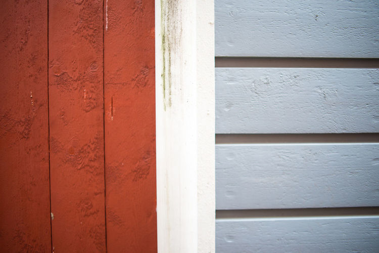 Horizontal Painted Pattern Pieces Red Abstract Blue Geometric Red Barn Siding Surface Texture Vertical Walls White Wood - Material Wooden
