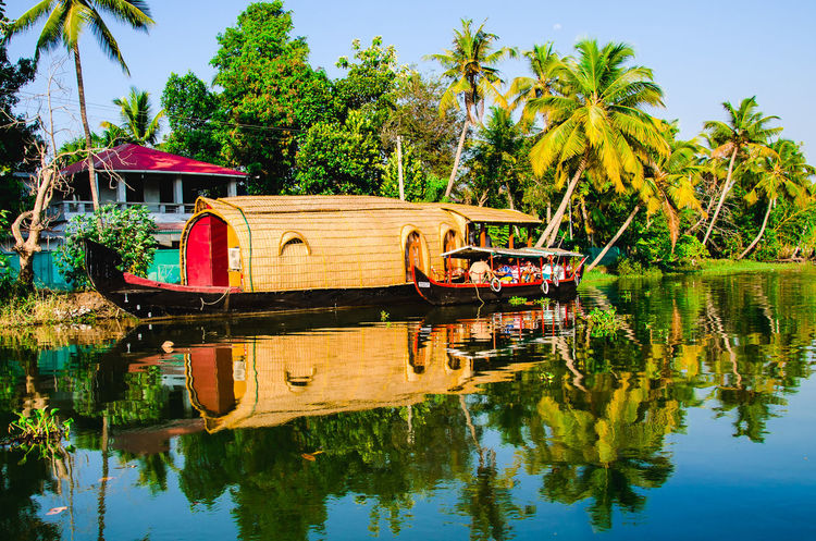 House Boat in Kerala Backwaters Backwaters Of Kerala Beauty In Nature Coconut Day Houseboat Lake Multi Colored Nature Nautical Vessel No People Outdoors Palms Peaceful View Pedal Boat Reflection Scenics Shikara Sky Tranquility Tree Water