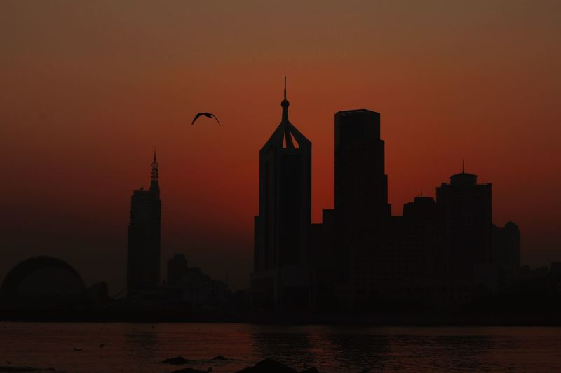 Sunset Wild Goose  Island Life Sunset Silhouettes City Life Building Exterior Built Structure Architecture Sky Sunset City Building Nature Orange Color