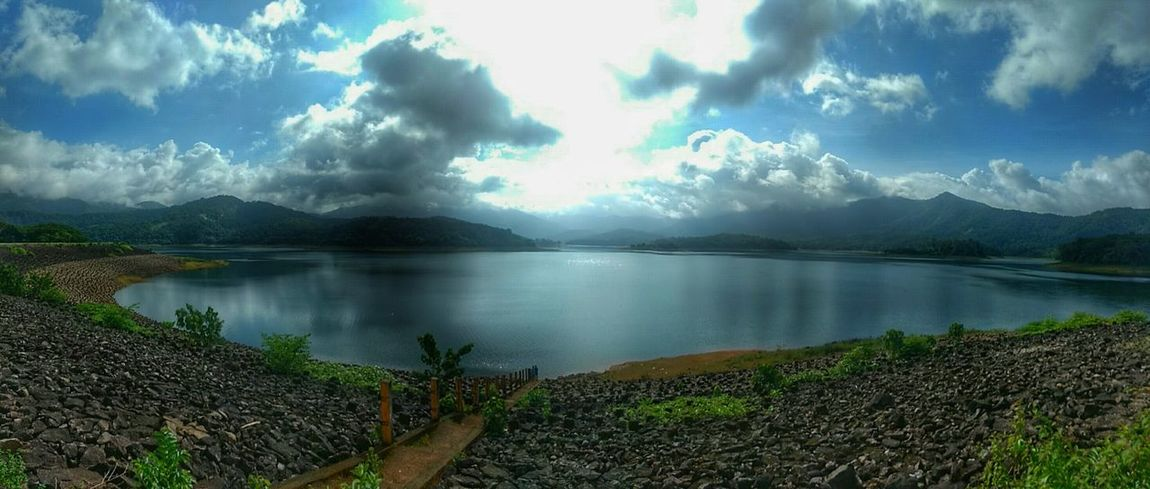 The western ghats Southindia Westernghatsofindia Southindiatrip Westernghats Wide Shot Mobilephotography Lake View Hillside Cloudporn Waterreflections  Waterreservoir