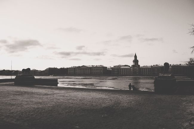 Cloudy Day Winter Nevariver Blackandwhite Photography Moody Old Saintpetersburg Built Structure Building Exterior Nature Day River