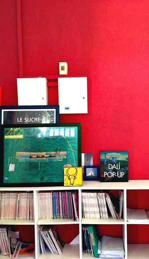 Everything In Its Place Red Wall Books Art Art Office Work Place Interior Views Dalí Art Room School Red Wall Organisation Design Sucre Sugar