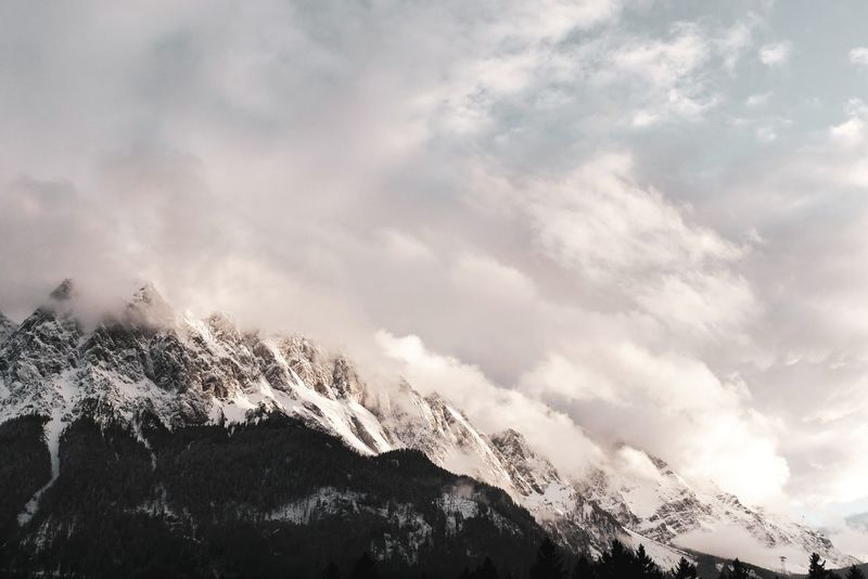 Tranquil Scene Backgrounds Full Frame Tranquility Alps Mountain View Mountains And Sky Bavaria Zugspitze Landscape Betterlandscapes Scenics Bayern Silence No People Power In Nature Scenics - Nature Tree Mountain Snow Winter Cold Temperature Sky Cloud - Sky Storm Cloud Lightning Dramatic Sky Atmospheric Mood Moody Sky Romantic Sky