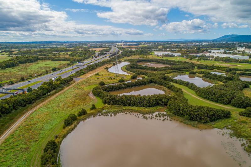 Eastlink highway passing near tirhatuan wetlands in melbourne, australia
