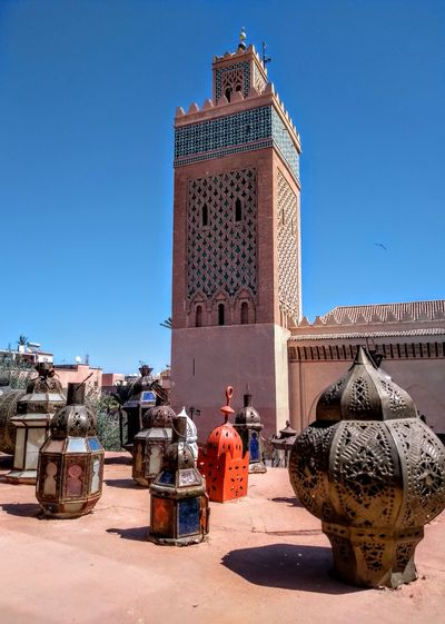 Moroccan Architecture and Design Mosque Moroccan Morocco Geometric Architecture Moroccan Style ArtWork Lamps Viewpoint Holiday Travel Destinations Marrakech Politics And Government Clear Sky Business Finance And Industry Tower Historic Town Square Spire  Cityscape Tall - High Skyline