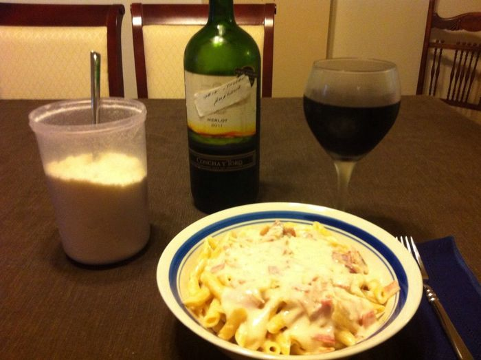 Tonight I made Penne Carbonara. Served with a bottle of my homemade 2012 Italian Amarone ICanCookMyAssOff Nomnombomb TheExpensiveWinos MyFoodPics