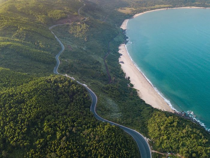 Beautiful aerial view above the Hai Van Pass, Vietnam Scenics - Nature Water High Angle View Landscape Environment Land Beauty In Nature Tranquil Scene Nature Day Tranquility Aerial View Outdoors