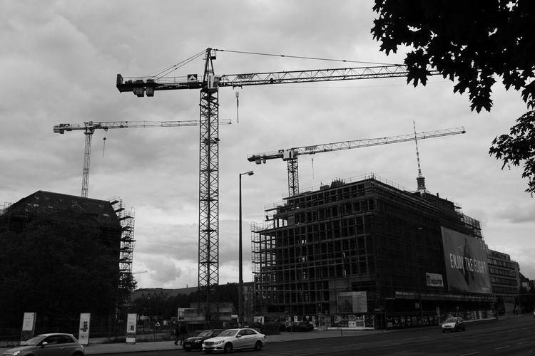 Monochrome Photography Built Structure Sky Architecture Construction Site City Development Crane - Construction Machinery No People Construction