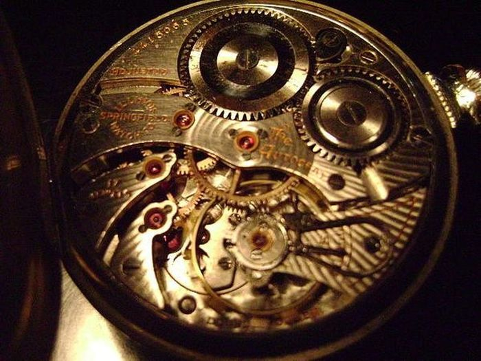 Time gears Illinois Springfield Pocketwatch Vintage