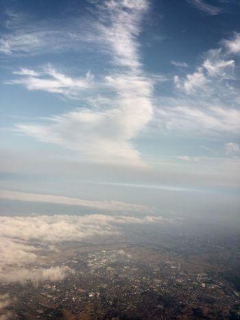 Sayonara Fukuoka, Japan From An Airplane Window Traveling Cloud And Sky Amazing View
