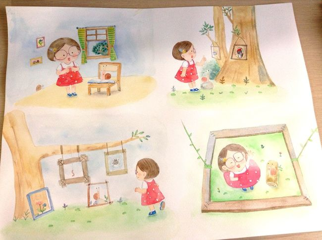 水彩 Art, Drawing, Creativity Drawin  Illustration Watercolor Art Happy Drawing Enjoying Life Hello World