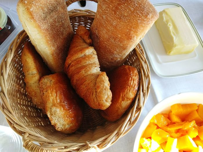 Directly above shot of bread basket on table