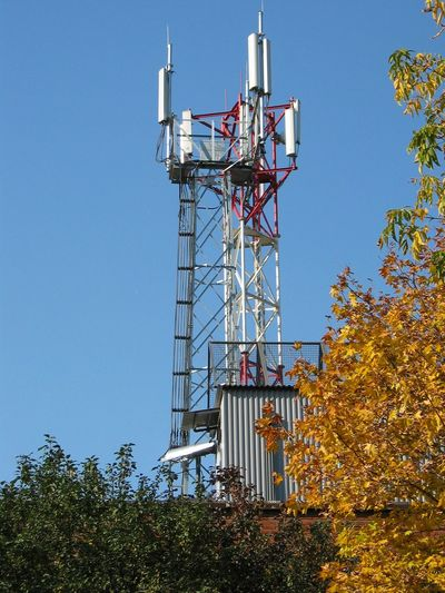 Autamn communications Antenna - Aerial Architecture Autamn Leaves Autumn Colors Blue Building Exterior Built Structure Cellular Tower Clear Sky Communications Tower Day High Leaves🌿 Metallic Mobile Communications Nature No People Outdoors Sky Tree