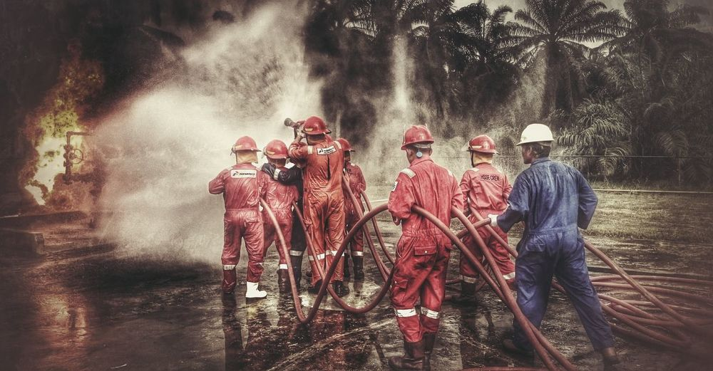 Team Fire fighter - fire drills action RePicture Friendship Firefighter Safety First! Pertamina Pertamina.ep Fieldrantau Teamwork Firefighters Safety Drill Photography
