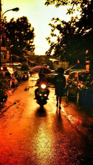 Pouring Rain Redlight Sunset