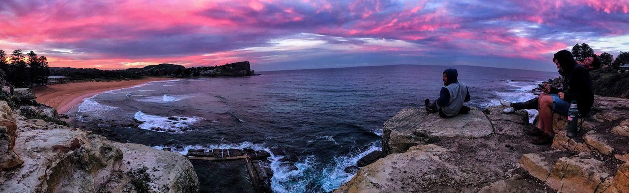 Friends Water Sea Sky Land Beach Cloud - Sky Sunset Panoramic Horizon Over Water