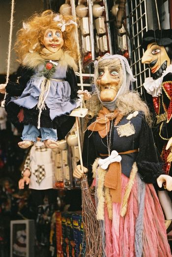 Puppets Arrangement Casual Clothing Close-up Colourful Composition Creativity Cultures Czech Republic Day Front View Indoors  Looking At Camera Male And Female Portrait Prague Puppets Puppets With A String Standing Tourist Attraction  Ugly Faces