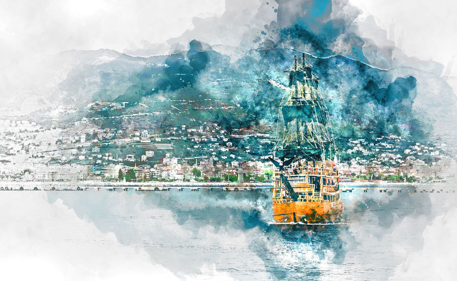 Beautiful landscape with sea, mountain range and ship over Alanya city background, Turkey. Digital watercolor painting. Alanya Alanya/Turkey Digital Drawing Digital Paint Turkey Watercolour Digital Art Digital Illustration Digital Painting Digitally Altered Digitally Generated Digitally Generated Image Illustration Mountain Nautical Vessel Outdoors Sea Tourism Tourist Resort Vessel Voyage Water Watercolor Watercolor Painting Watercolour Painting