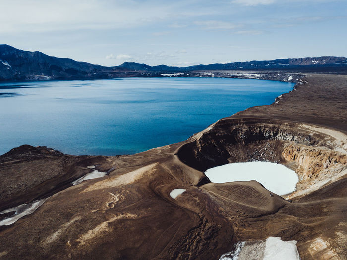 Askja and Viti Few hours drive into remote Highlands will reward you with views of crystal blue caldera lake and below you can take a dip in geothermal water of Viti (white one), meaning 'Hell' in Icelandic Caldera Drone  Drones Iceland Beauty In Nature Dronephotography Iceland Trip Idyllic Mountain Range Nature No People Outdoors Rock - Object Tranquil Scene Volcano