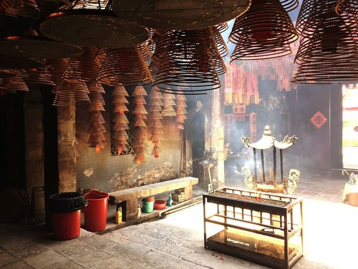 Temple Incense and Smoke Incense Cone Hktemple Temples No People Seat Illuminated Table Nature Indoors  Absence