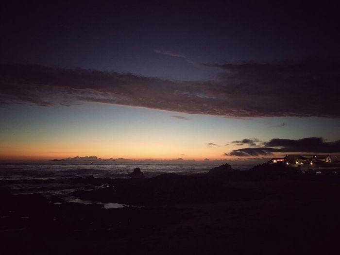 Evening Walk - Seaside Atlantic Ocean Night View Nightphotography Tea House Siza Sizavieira Silhouette Leça Da Palmeira Tranquil Scene Dark Cloud - Sky