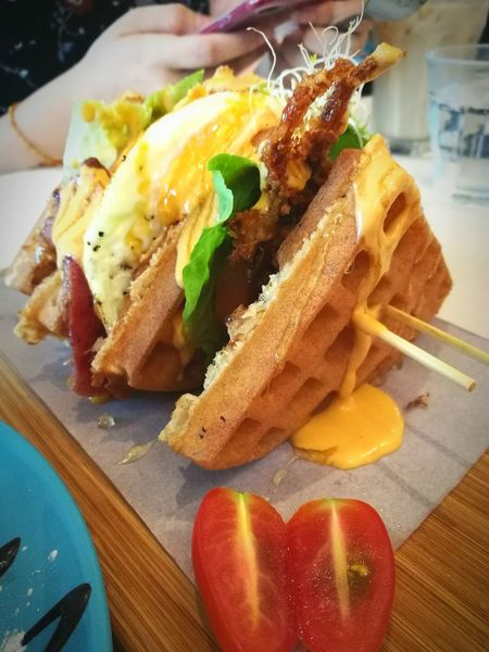 Waffles!! Bacon And Eggs Cafehopping Food And Drink Ready-to-eat Indoors  Close-up Meat Softshellcrab Dessert Time! 2017 Dessert Dining Outside