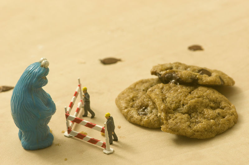 Cookie Monster Playmobil People And a chocolate chip cookie Representation Human Representation Toy Art And Craft Figurine  Indoors  No People Creativity Table Male Likeness Still Life Focus On Foreground Land Craft Close-up Food And Drink Sand Female Likeness