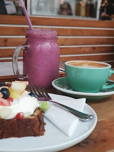 little treat Smoothie Red Berries Juice Cake Fruits Coffee Cappuccino Frothy Drink EyeEm Best Shots The Week on EyeEm On The Table Colorful Food Sunday Leisure Activity Happiness Fork Wooden Background Hungry Ready-to-eat Drink Food And Drink Drinking Glass Refreshment Drinking Straw Table Healthy Eating Milk Ready-to-eat Freshness Frothy Drink