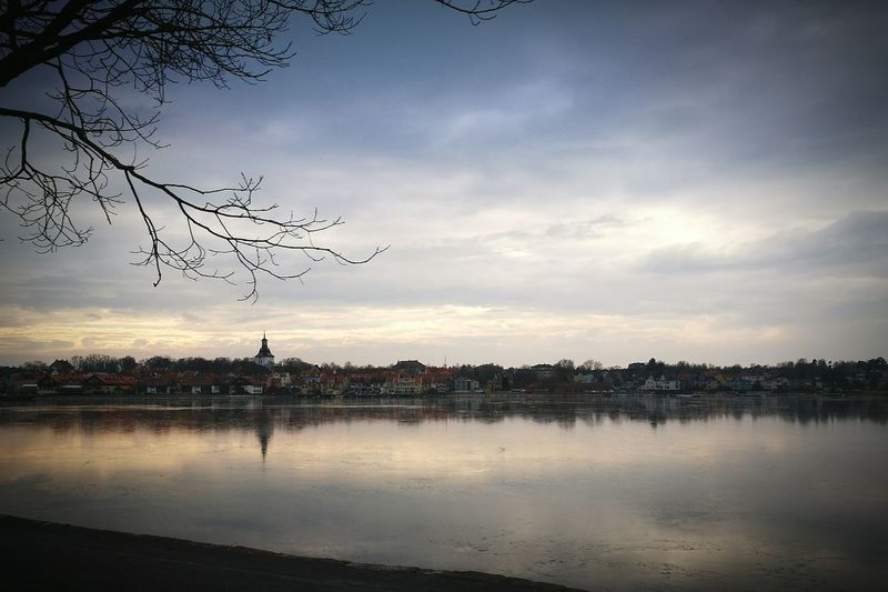 Västervik Reflection Sunset Sky Water Cloud - Sky Tree Outdoors Nature Landscape No People Urban Skyline Vacations First Eyeem Photo
