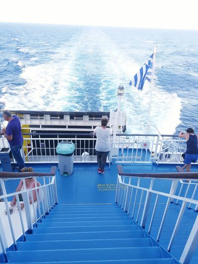 Let's Go. Together. Sea Railing Water Nautical Vessel Blue Horizon Over Water Ship Day Outdoors Adults Only Men Boat Deck Adult Beach Only Men People Yacht Nature Sky Yachting Tinos Island Grecce Santa Maria Church Sunny Day Good Time Tinos Greece