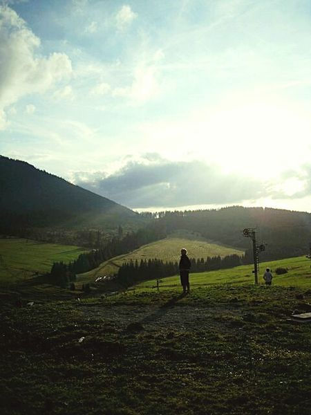 Silhouette Beauty In Nature Nature Mountain Landscape Cloud - Sky People Snap A Stranger