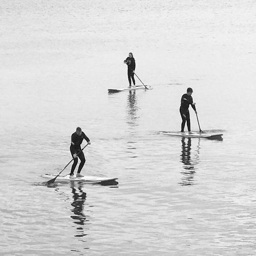 Water Real People Men Sport People Waterfront Leisure Activity Day Oar Paddleboarding Nature Transportation Lifestyles Sea Full Length Nautical Vessel Group Of People Beauty In Nature Adventure
