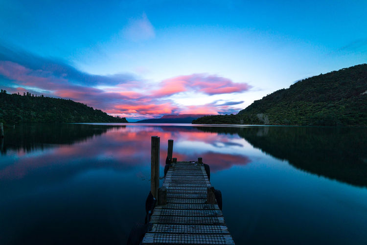 Amazing sunset at Lake Tarawera. Cloud Flow  Nature Scenic Travel Beauty In Nature Blue Dawn Idyllic Lake Landscape Long Exposure Motion Movement New Zealand No People Outdoors Reflection Serene Sky Sunset Tranquil Scene Water