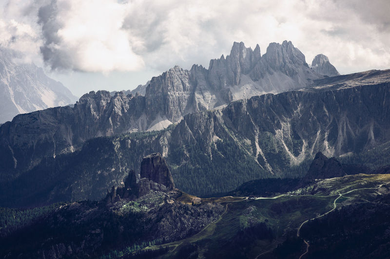 5 torri  5 towers at nuvolau mountain range, cortina d'ampezzo, dolomites unesco