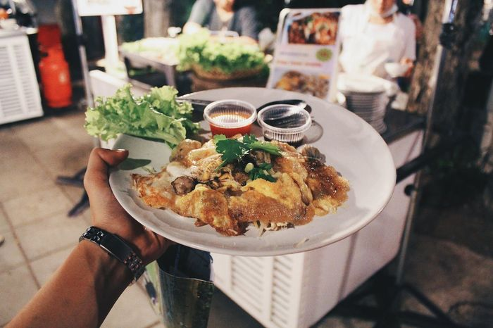 Oyster Omelette. Food Food And Drink Holding Street Food Foodie Food Photography Product Photography Product Shooting Traveling Streetphotography Getting Inspired Travel Thailand Asian Culture Backpacking Food And Drink ASIA Getting Creative Lifestyles Traveller EyeEm Best Shots Passion For Photography Foodphotography Ready-to-eat Food Porn