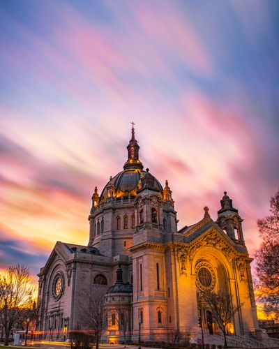 Low angle view of cathedral against sky during sunset