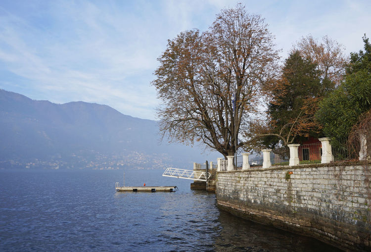 a view of Lake Como and a garden, Italy Europe Garden Gardens Horizontal Idyllic Italy Lake Como Lake Shore Lakeshore Lakeside Landscape Plants Scenery Scenics Shore Tranquil Scene Tranquility Trees Villa