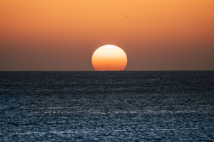 Sunset or sunrise moment over the ocean with sun touching the horizon line on the water - romantic and touristic concept for travel vacation background coloured Clean Dawn Island Horizontal Horizon Over Water Nature Atlantic Ocean Red Romance Suggestive Season  Sea Sky Time Tourist Turism Freedom Movement Motion Colored Background Wallpaper Seascape Tenerife Canary Islands Sun Scenics - Nature Horizon Water Beauty In Nature Sunset Orange Color Tranquil Scene Idyllic Tranquility Waterfront No People Sunlight Clear Sky Non-urban Scene Outdoors