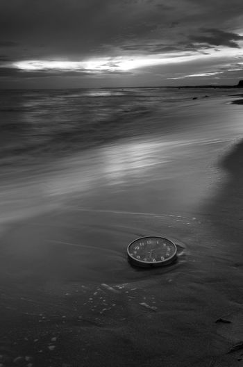 Concept alarm clock on beach of island, malaysia. Fine art black and white. Wall Clock Fine Art Photography Blackandwhite Concept Wallpaper Background Malaysia Water Sea Beach Business Finance And Industry Wave Sky Horizon Over Water Landscape Seascape